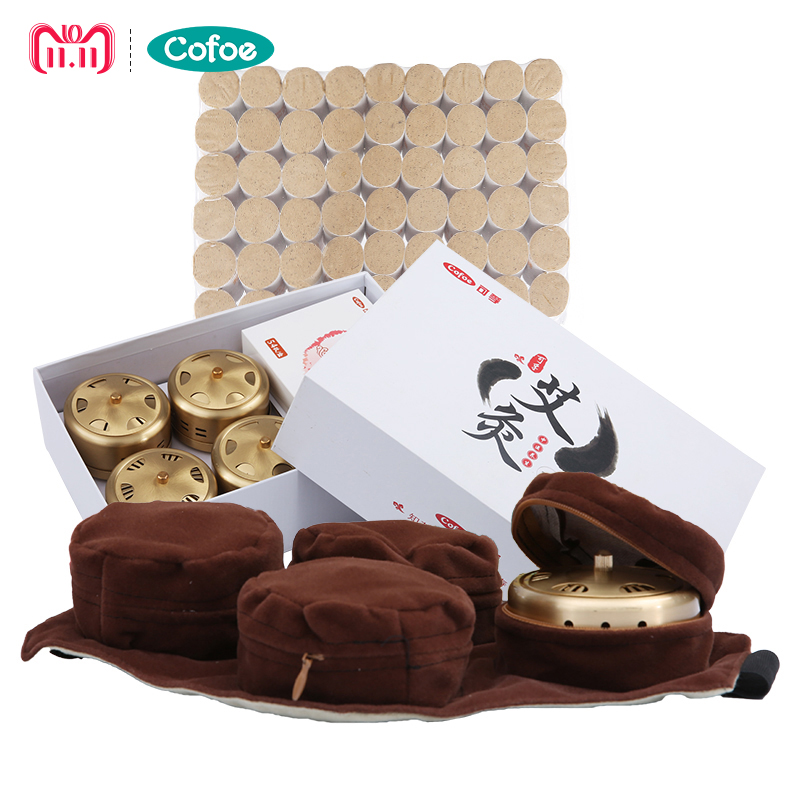 Cofoe Pure copper moxibustion box portable Acupuncture moxa box moxibustion tank with smokeless moxa cone for relief pain 30pcs set new arrive smokeless moxa stick handmade acupuncture massage moxibustion moxa wormwood
