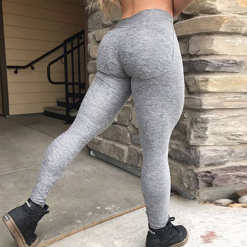 2018 Fashion Sexy Push Up Gray   Leggings   Women Pants High Waist Workout Polyester   Leggings   Jeggings Slim Sporting   Legging