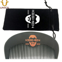 100pcs/lot Wooden Black Comb & Gift Velvet Pouch Customized LOGO Wood Beard Hair Combs for Men Grooming Promotion