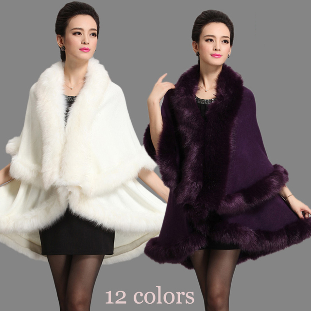 Осень Зима Новый женский шерстяной вязаный Лисий кашемировая накидка двойное Пончо Кашемир мех пашмины Каппа благородные вечерние платья пальто