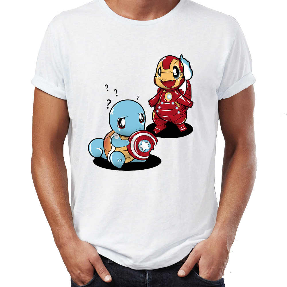 7caf3041d Men's T Shirt Civil War Squirtle Vs Charizard Funny Pokemon Awesome Artwork  Drawing Printed Tee