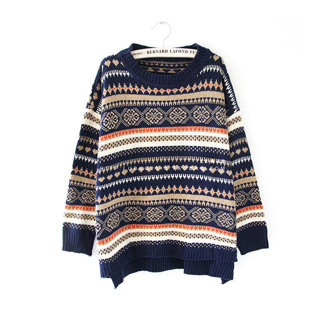 Kersttrui S.Christmas Sweater Classical Vintage Style Snowflake Pattern Sweaters
