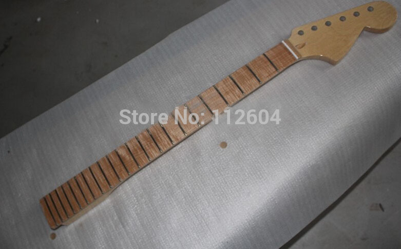 Wholesale Top quality 22 fret guitar neck Birds eye Maple neck Tiger stripes maple fingerboard guitar bow new unfinished electric guitar neck truss rod 24 fret 25 5 free shipping dropshipping wholesale