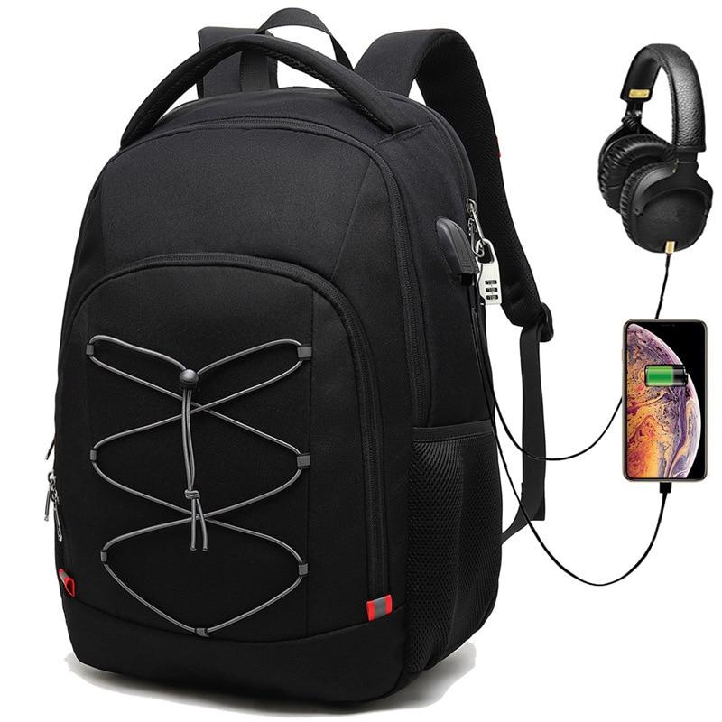 Sacs à dos d'affaires hommes garçons Super ultra grande capacité USB casque codé sacs mâle voyage école 17.3 pouces pochette d'ordinateur pack