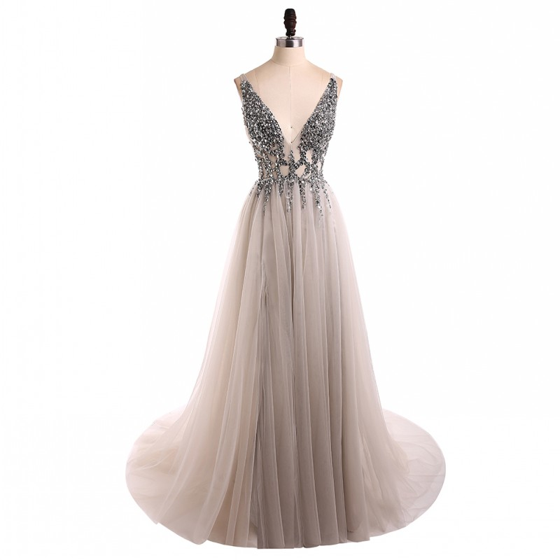 Сексуальное вечернее платье с v-образным вырезом, с бусинами, с открытой спиной, а-силуэт, Длинные вечерние платья, вечерние платья с высоким разрезом, фатиновые платья для выпускного вечера - Цвет: picture color
