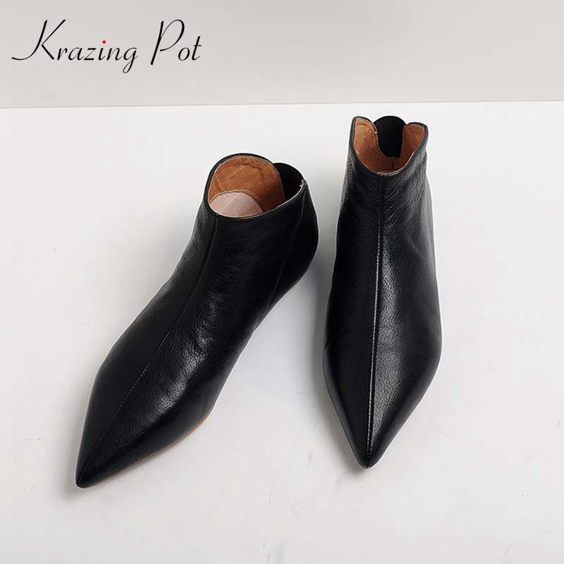 Krazing Pot Full Grain Leather Soft Skin Winter Spring Modern Girl Pointed Toe Slip On Casual Flats Young Lady Pregnant Shoe L31