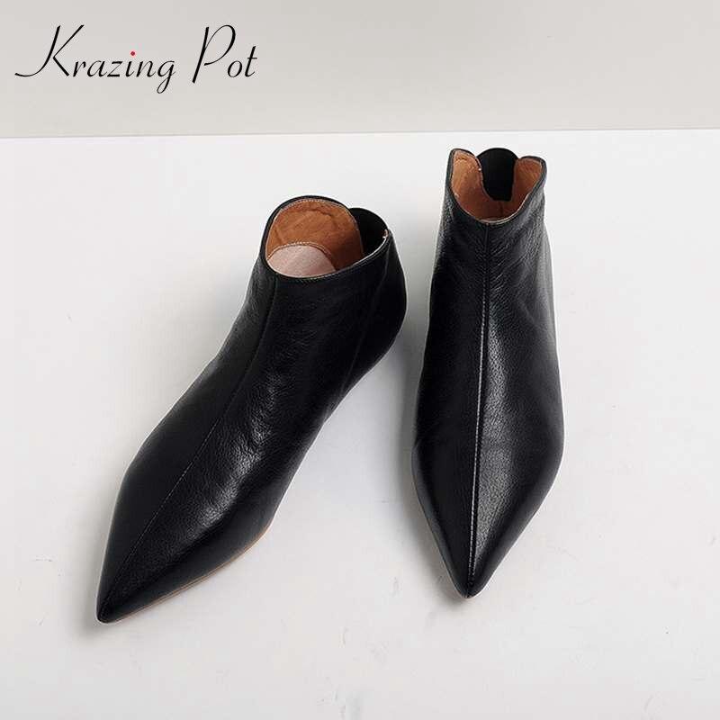 Krazing Pot/полное зерно кожа мягкая кожа сезон зима-весна. современной девушки с острым носком без шнуровки повседневная обувь на плоской подош...