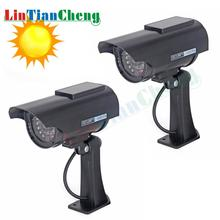 2 Pcs Solar Bullet Dummy IP Camera Outdoor CCTV Black Fake Security Survellance Camera Flashing Red LED Free Shipping цены онлайн