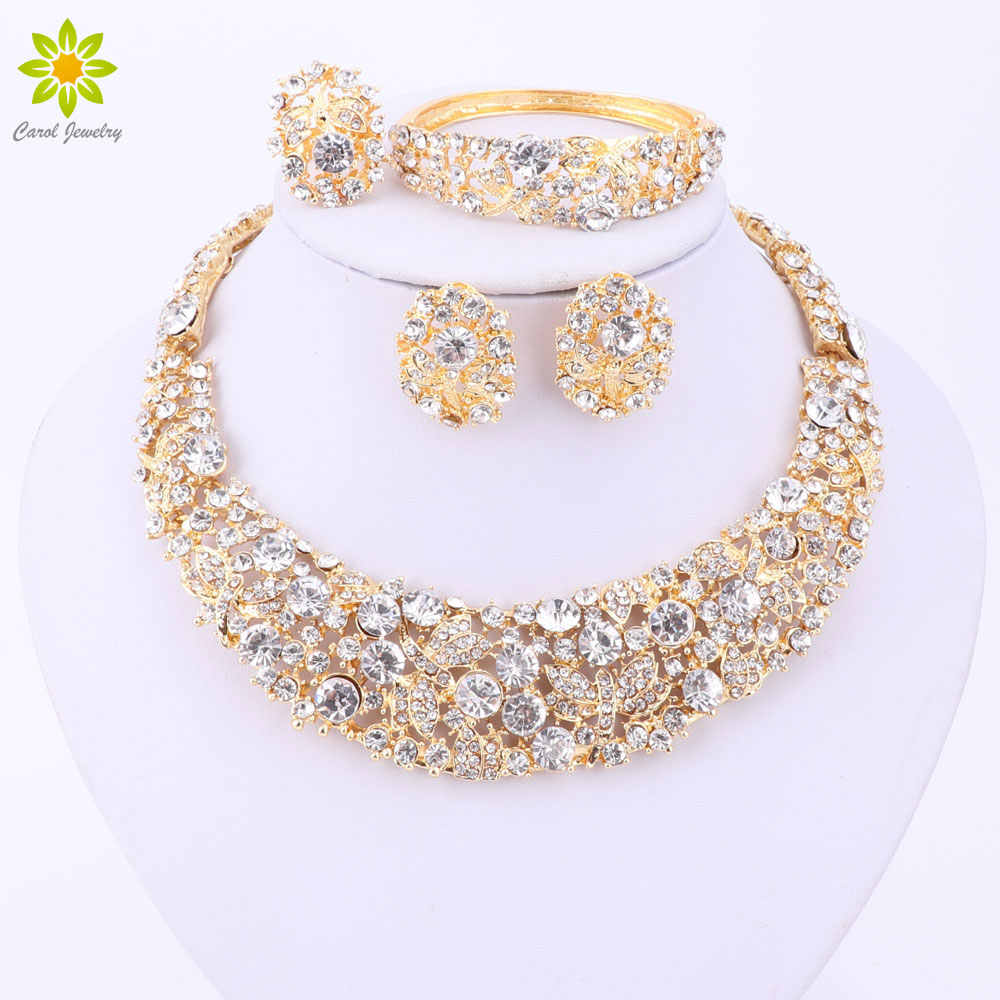 Nigerian Wedding African Beads Jewelry Sets Crystal Necklace Sets Gold Color Jewelry Set Wedding Accessories Party