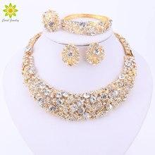 Nigerianischen Hochzeit Afrikanische Perlen Schmuck Sets Kristall Halskette Sets Gold Farbe Schmuck Set Hochzeit Zubehör Party