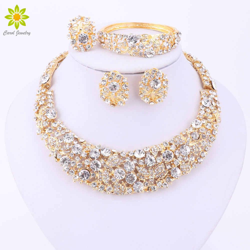 Nigerianischen Hochzeits Afrikanische Perlen Schmuck Sets Kristall Halskette Sets Gold Farbe Schmuck-Set Hochzeit Zubehör Partei