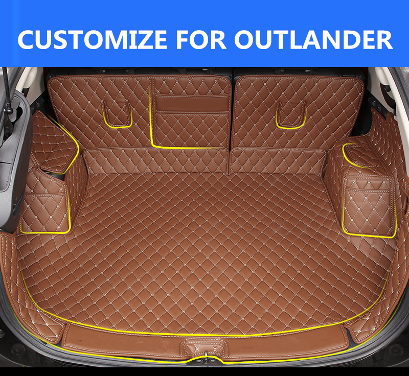 All surround car trunk mat for Mitsubishi Outlander 2013-2016 3D TPE+XPE Anti-slip leather trunk pad Customized floor mat for mitsubishi outlander 2013 2014 2015 2016 accessories 3d rubber car mat anti slip mat interior door pad cup mat 14pcsoriginal