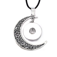 Hot Interchangeable Metal Flower Moon Ginger Crystal Necklace 139 Fit 18mm Snap Button Pendant Charm Jewelry For Women Gift