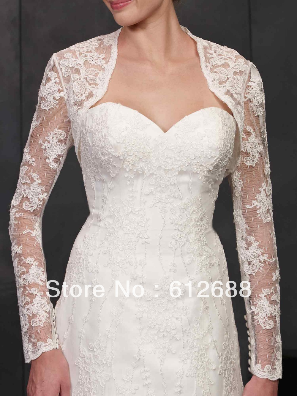 2014 new fashion lace pattern with appliques long sleeve for Wedding dress with shrug