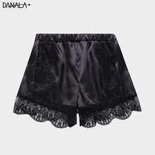 DANALA Silk Satin Sleep Bottoms For Women Summer Sleepwear Sexy Lace Pajamas Fem