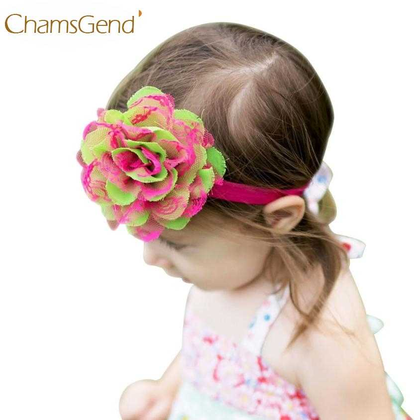 Newly Design 1pc Little Girls Lace Flower Elastic Headbands Hair Bands 160602 Drop Shipping