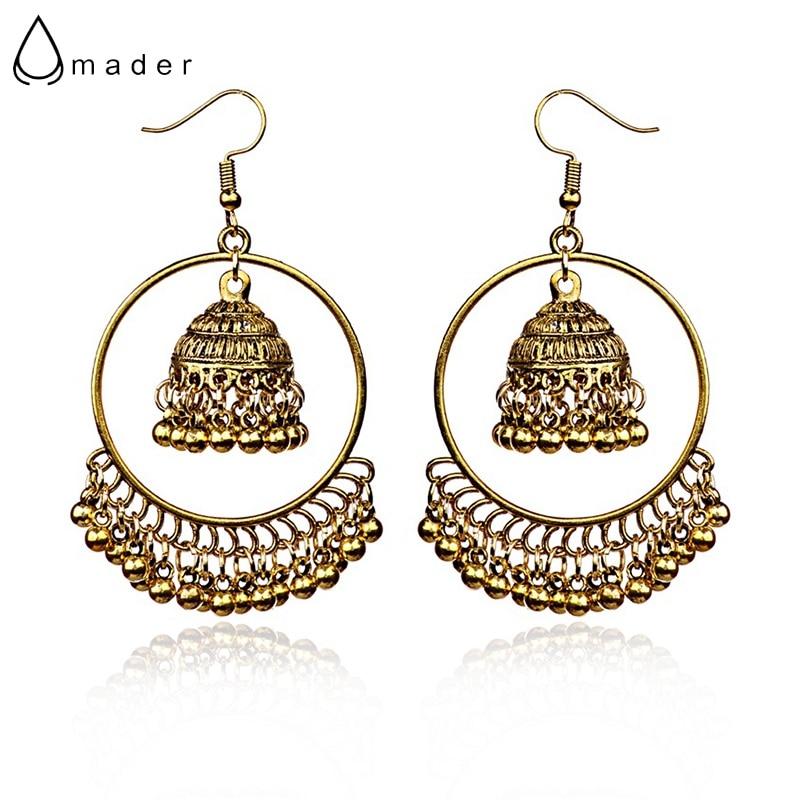 Us 2 24 40 Off Amader Round Turkish Vintage Jhumka Earrings Women S Silver Gold Bells Drop Ethnic Indian Turkey Jewelry Boho Bijoux Hxe087 In