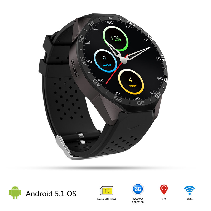 imágenes para Interpad mtk6580 quad core 1.3 ghz teléfono android 5.1 smart watch ROM 4 GB RAM 512 MB Soporte 3G Wifi SIM Smartwatch 400*400 pantalla