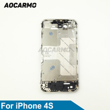 Aocarmo Metal Silver Middle Frame Bezel Housing Plate Board With Battery Sticker For iPhone 4S