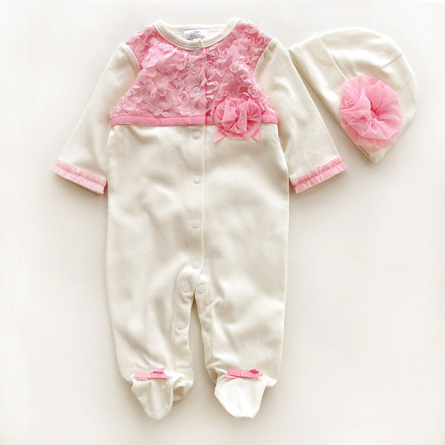 effdd2451beb Princess Style Newborn Baby Girl Clothes Flowers Romper Clothing Set  Jumpsuit   Hat 2 PC Cute