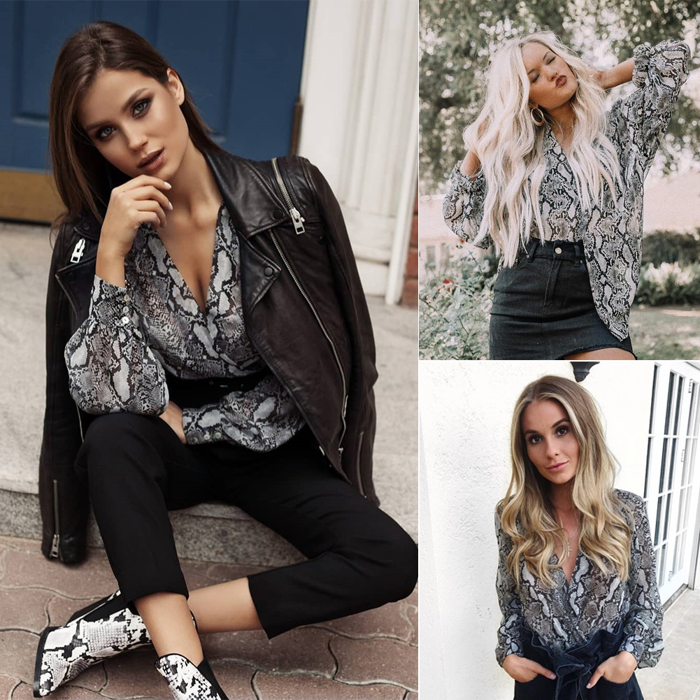 Snake Print Sexy Blouse Women's Fashion Shirt Casual Loose Long Sleeved Lapel Tops Sexy V-neck Blouse