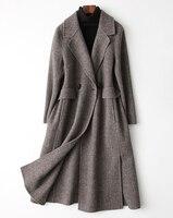 Европа италия Для женщин зимние модные шерстяные кашемировые длинное пальто с отложным воротником high street Дамы Формальное зрелые женской од