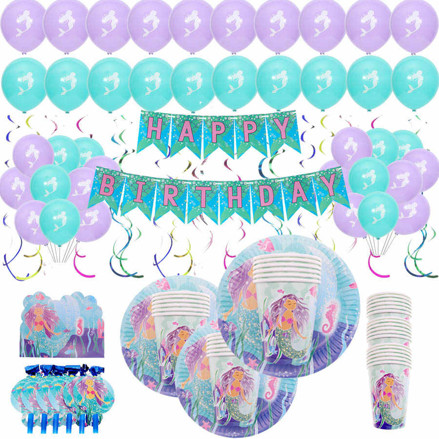 New arrival Disposable tableware set paper plates happy birthday mermaid party decorations baby shower kids Party Supplies
