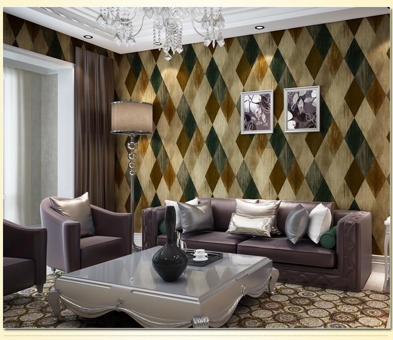 Haok Home Pvc Vinyl Vintage Geometric Diamond Wallpaper Living Room Bedroom Wall Decoration Blue Brown Rhomubus Art In Wallpapers From