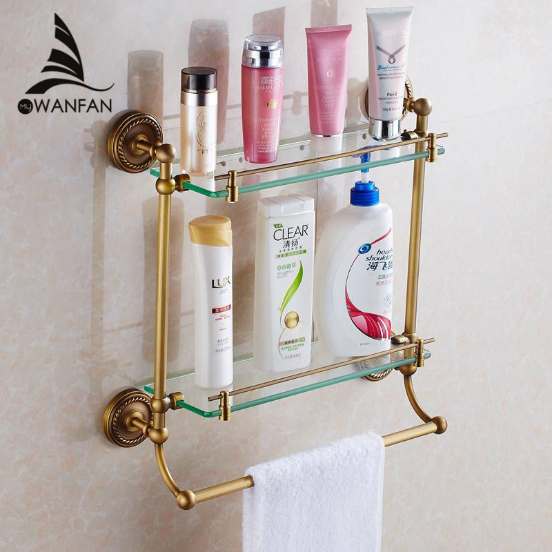 Bathroom Shelves 2Tier Glass Antique Brass Wall Shelf Bath Holder Towel Bar Hanger Shower Storage Accessories Towel Rack HJ-1323 whole brass blackend antique ceramic bath towel rack bathroom towel shelf bathroom towel holder antique black double towel shelf