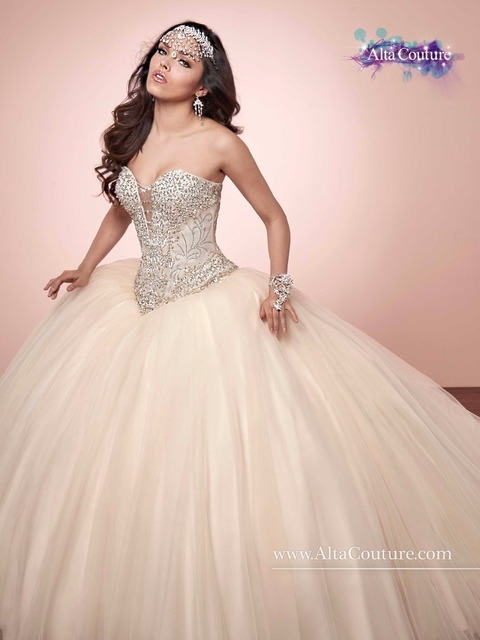 813934be9f7 2017 New Champagne Beads Crystals Ball Gown Quinceanera Dresses Cheap Tulle  Vestido De 15 Anos Sweet 16 Dresses Detachable Train