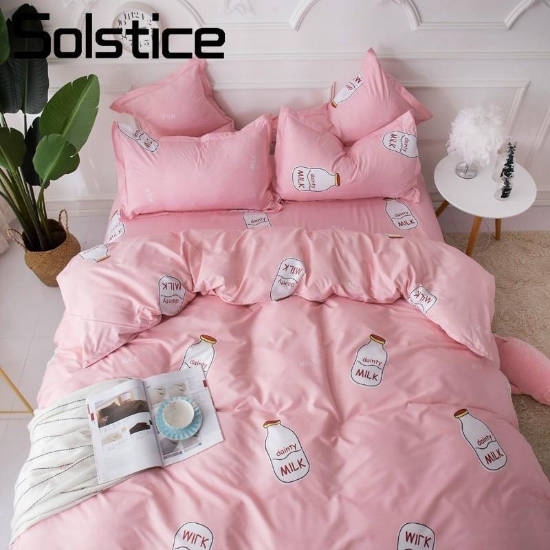 Solstice Home Textile Kid Teenage Girls Bedding Sets Milk Bottle Duvet Cover Flat Sheet Pillowcase King Twin Single Linen 3/4Pcs