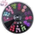 Black Large Size 8*8cm Wheel 49Pcs Floral Studs Supplies For Nails 3D Colorful Resin Flower Design Nail Art Decorations ZP210