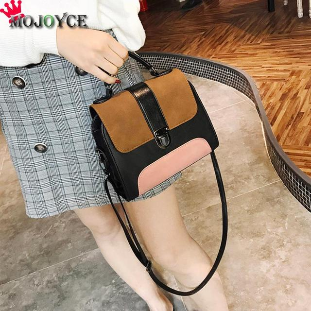 Casual Women PU Leather Sling Handbag Girls Crossbody Bag Patchwork Color Messenger Shoulder Bag Female Handbag 2