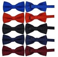 5 Pcs Set Men And Boy Adjustable Pre Tied Formal Necktie Bow Tie Jacquard Dots B4