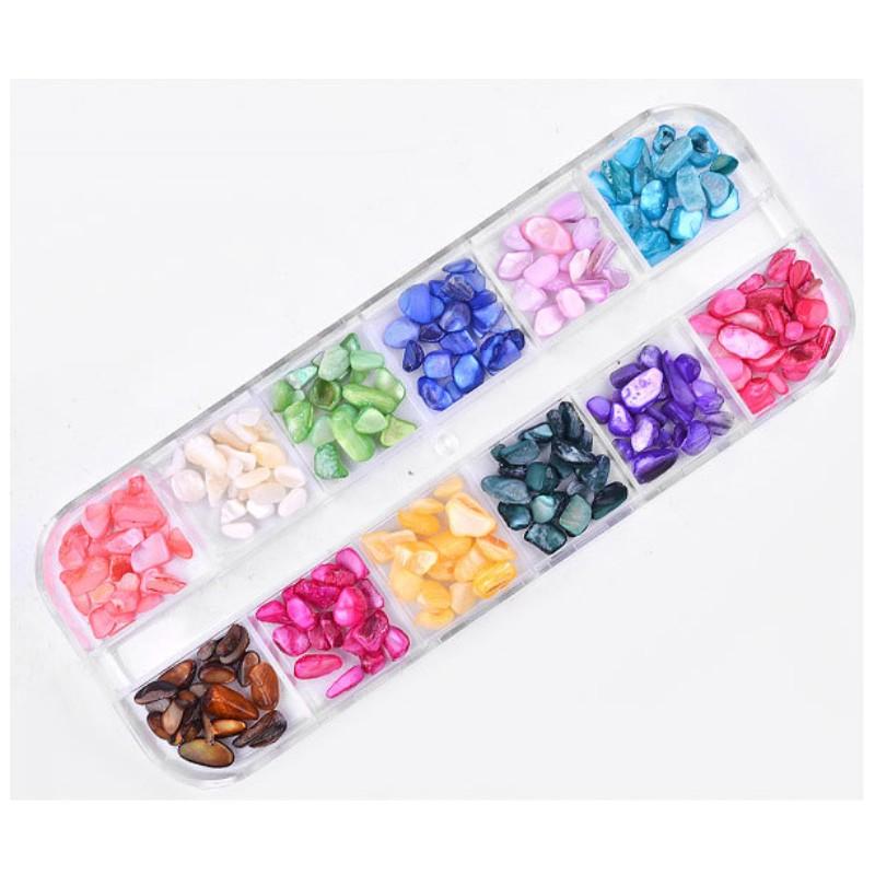 12 цветов/коробка оболочки дробленые камни гравий хлопья натуральные