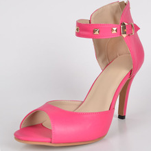 Cute Pink Faux Leather Women's Pump Sandals With Buckle sapatos femininos 2015 Women Shoes Thin High Heels Cover Party