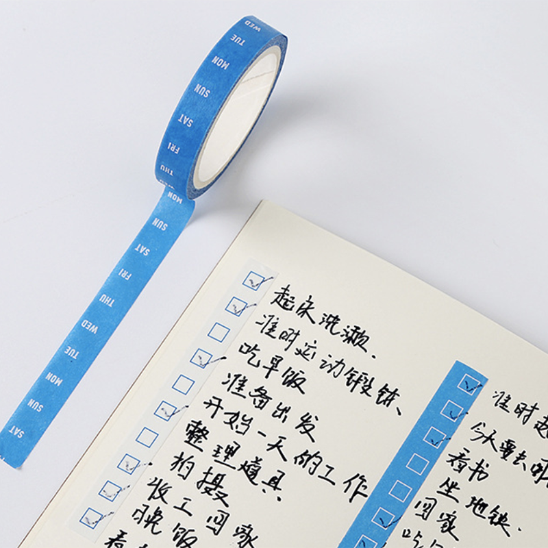 4pcs/Set 8mm Office Time Planner Masking Tape Date Week Time Decorative Adhesive Washi Tape Creative Stationery School Supplies
