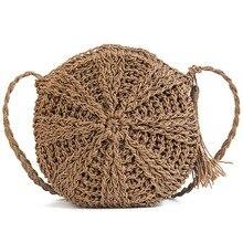 цены Women Straw Bags Bohemian Rattan Female Beach Handbag Circle Lady Weave Messenger Bag Handmade Crossbody bag