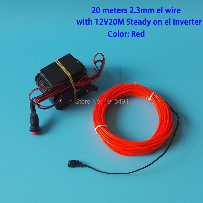 Top vente rouge 20 mètres 2.3mm EL lumière froide néon LED lumineuse Performance de bande, décor de scène dramatique par DC12V bouton onduleur