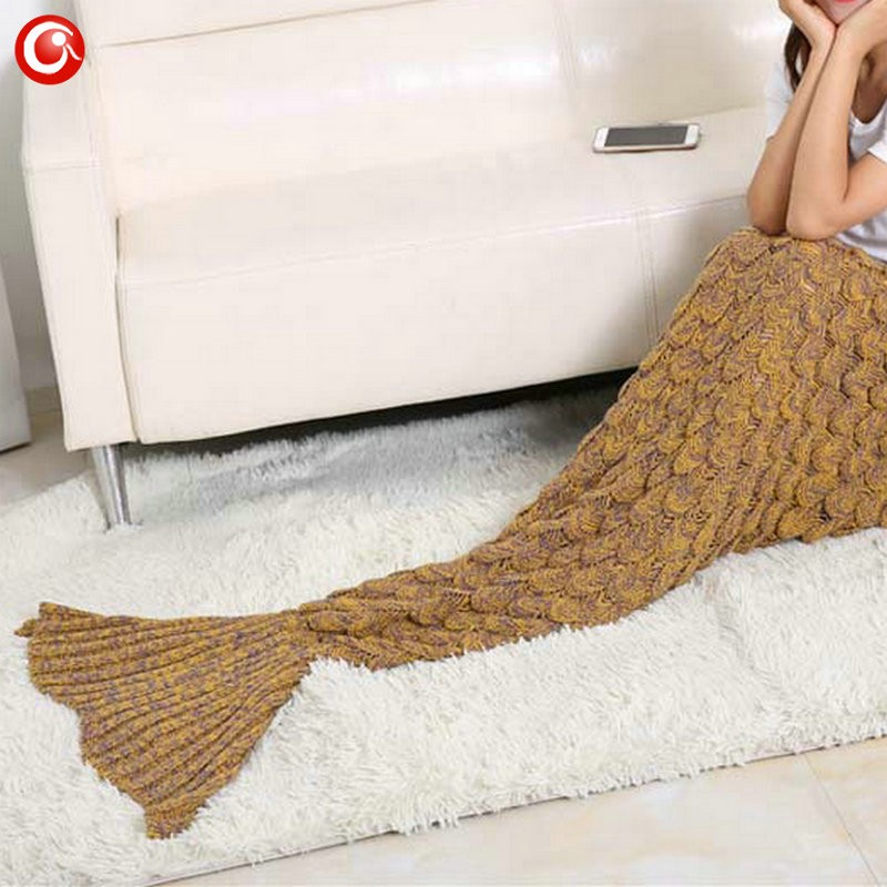Baby Knitted Crochet Mermaid Blanket For Mother&Baby Infant Newborn Handmade Bed Wrap Throw Sleeping Bag Soft (6)