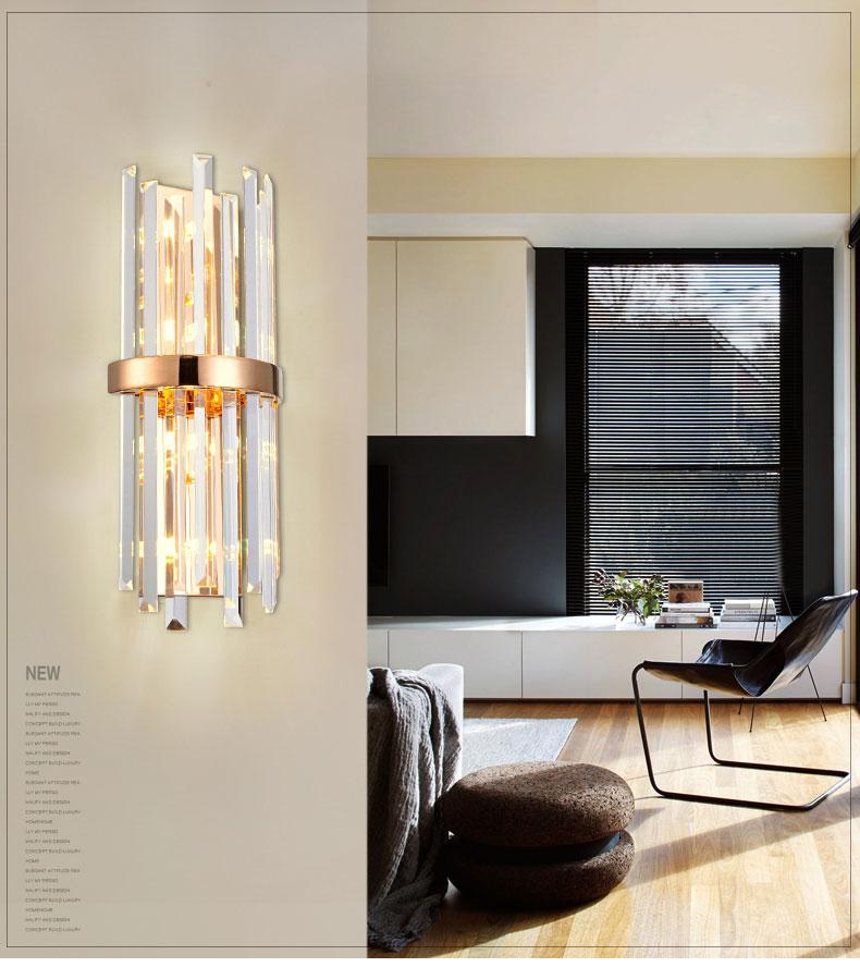 цены на European Crystal Wall Lamp Hotel Creative Bedroom Modern Living Room Corridor Bedside Stainless Steel Wall Lamp в интернет-магазинах
