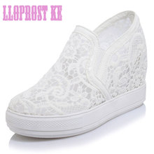 LLOPROST KE Elegant Loafers Shoes Women Casual Lace Round toe Shoes Woman Fashion Sweet Platform Increasing Ladies Shoes dxj2157