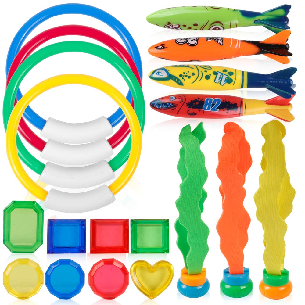 19PCS Pool Accessories Set 4 Dive Ring,4 Throw Torpedo Bandit,3 Stringy Octopu,8 Jewel Gem For Pool Sinking Swimming Game Underw