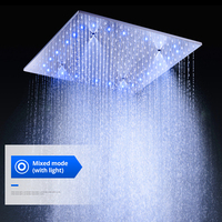 Bathroom Modern 500X500 MM LED Rainfall Large Massage Shower Panel Head / 304 SUS Ceiling Mounted Mist Bath Square Shower
