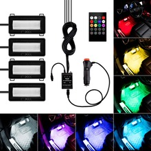 4 in 1 Car 8 Color LED DRL Strip Light Bar Auto 12V Decor Atmosphere Interior Lamp Music Voice Remote Control Neon Cord 4 in 1 9 led car light 12v car interior light remote control led strip lights atmosphere lamp auto decorative light