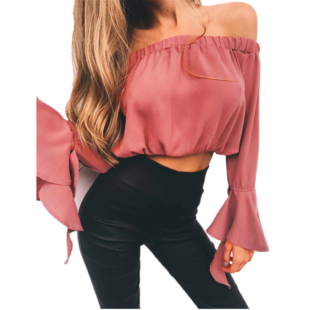 802970434e 2018 Summer Spring Strapless Blouse Tube Top Ruffle Sleeve Sexy Crop Tops  Solid Off Shoulder Tops