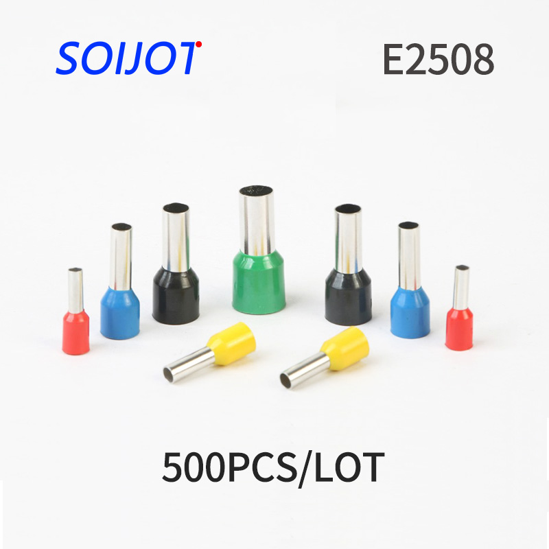 500pcs E2508 Tubular Wire Cold Pressure Connector Electrical Terminals Cable Crimps Wire Ferrules For 2.5mm2, 14 AWG Pin End цена