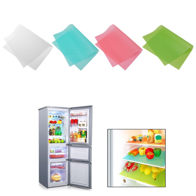 4pcs Washable Antibacterial Refrigerator Pads Tailorable Fridge Mats Waterproof Antifouling