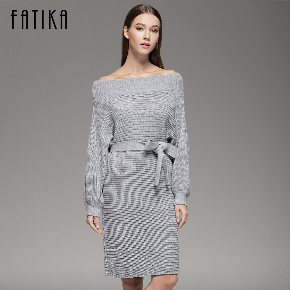 FATIKA 2017 Women Strapless Off Shoulder Dress Autumn Winter Slash Neck Sexy Women Long Batwing Sleeve Knitted Loose Sweater