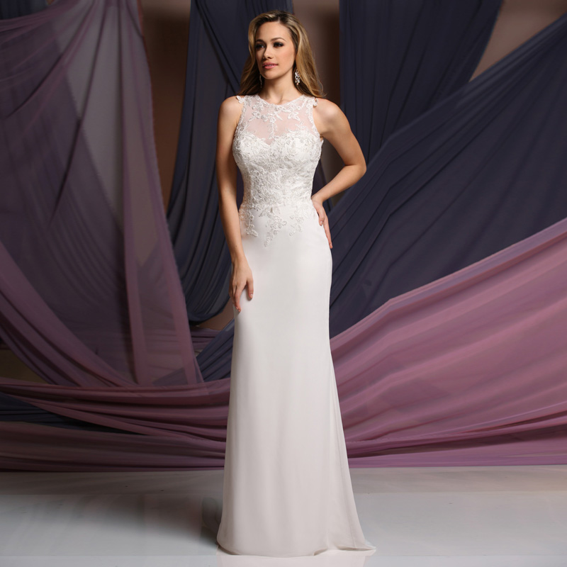 Simple Style with Appliques Chiffon Vestido de noiva Sleeveless 2016 Bridal Gown with Low Price   bridesmaid     dresses